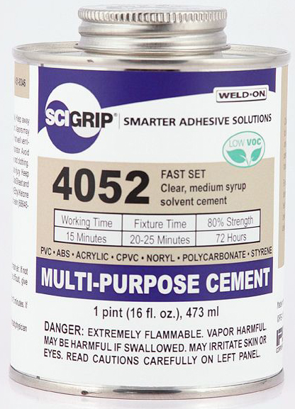 1 PINT WELD-ON #4052 (PVC, ABS, STY) - Multi-Purpose Cements