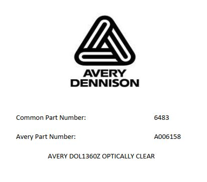 54IN AVERY DOL1360Z OPTICALLY CLEAR - Avery DOL1300Z Series Clear Laminate Vinyl Films